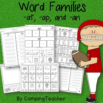Word Families at, an, and ap Football Super Bowl Sunday Theme