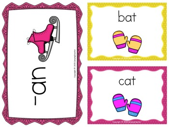 Word Families at, an, and ap Ice Skating and Mittens Theme