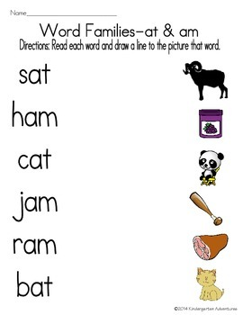 Word Families -at and -am