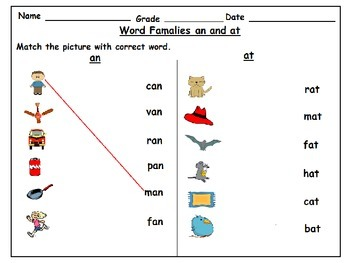 Word Families at and an Worksheets: