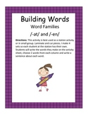 Word Families /-at/ and /-en/...Building Words Center and