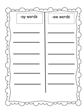 Word Families /-ay/ and /-ew/...Building Words Center and Word Work