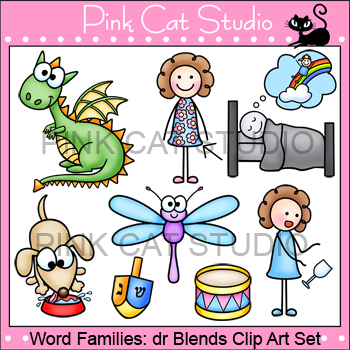 Word Families: dr Blends Clip Art - dragon, dress, dream, drink, drum, drop