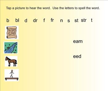 Word Families -eam and -eed Interactive Games