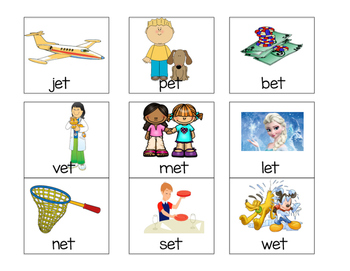 "Word Families ""et"" and ""en"" Primary Literacy Centers"