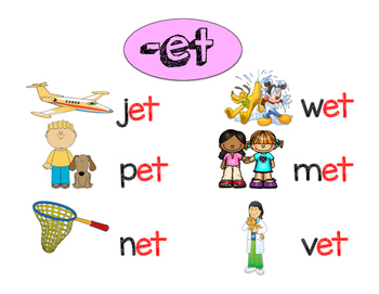 """Word Families """"et"""" and """"en"""" Primary Literacy Centers"""