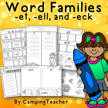Word Families et, ell, and eck Crayon Theme