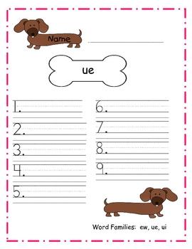 Word Families:  ew, ue, and ui