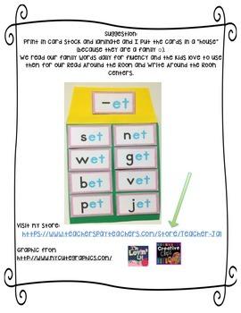 CVC Word Families flash cards