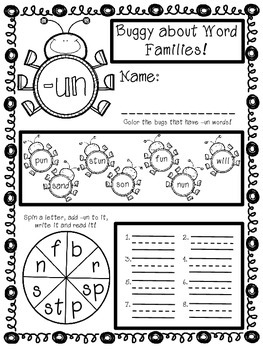 Word Families for First Grade