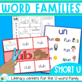 Word Families Word Work for Short U - charts, playdough mats, games, worksheets