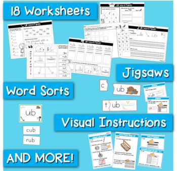Word Families Word Work for Short U - charts, playdough mats, games, worksheets