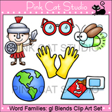 Word Families: gl Blends Clip Art - Personal or Commercial Use