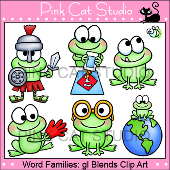 Word Families: gl Blends Clip Art Set - Personal or Commercial Use