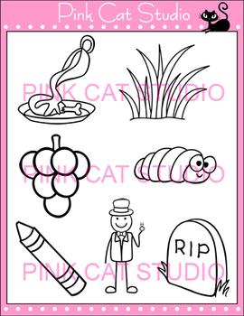 Word Families: gr Blends Clip Art - grapes, grass, grave, green, gravy, groom