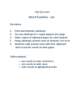 Word Families ice