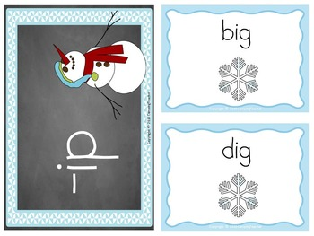 Word Families ig, in, and ip Snowman Winter Theme