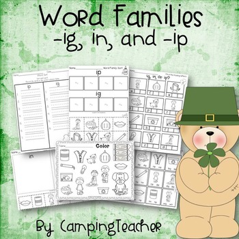 Word Families ig, in, and ip St Patrick's Day Theme