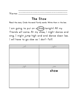 Word Families (-ight, -igh, -ow, -urn, -all, -ay) Word Sort Printable Passages