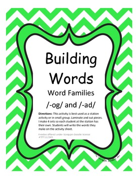Word Families /-og/ and /-ad/...Building Words Center and Word Work