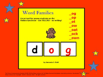 Word Families (og, ot, op, ow, oat, ock, own) For those on the Autism Spectrum