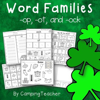 Word Families op, ot, and ock St. Patrick's Day Theme