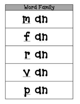 Word Families pages