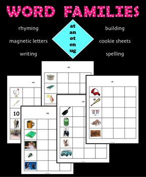 CVC Word Families  - rhyming - pictures and word building