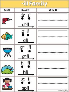 Word Families (short vowels) Read, Blend, Write Center Activity