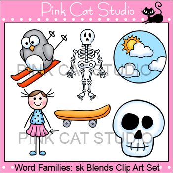 Word Families: sk Blends Clip Art - Personal or Commercial Use