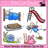 Word Families: sl Blends Clip Art - Personal or Commercial Use