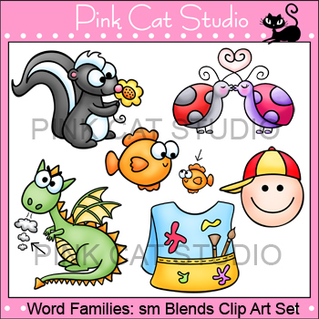 Word Families: sm Blends Clip Art - Personal or Commercial Use