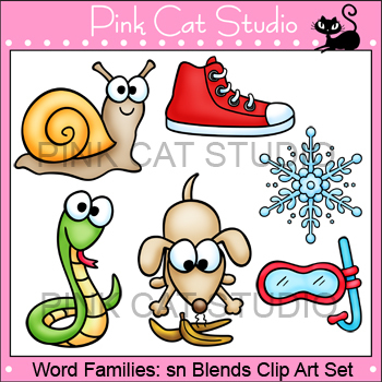 Word Families: sn Blends Clip Art - Personal or Commercial Use