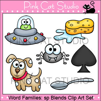 Word Families: sp Blends Clip Art - Personal or Commercial Use