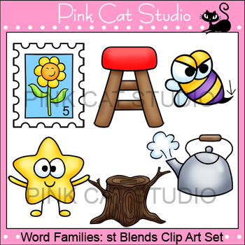 Word Families: st Blends Clip Art - Personal or Commercial Use