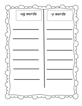Word Families /-ug/ and /-y/...Building Words Center and Word Work