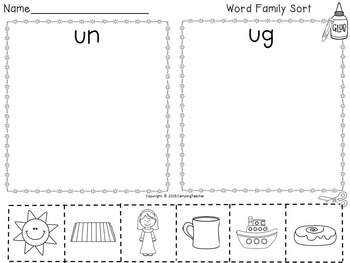 Word Families un, ug, and ut Spring Flowers Theme