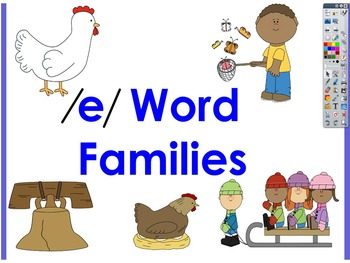 Word Families with /e/ chunks Interactive Board Activities