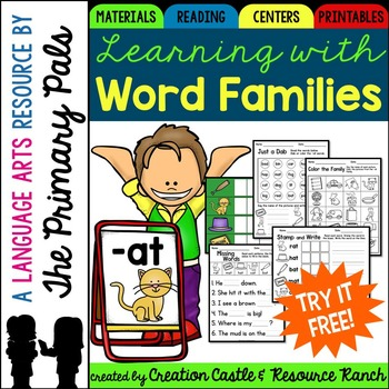 Word Family Printables -at family