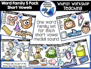 Word Family 5-Pack Short Vowels (50 images) Whimsy Worksho