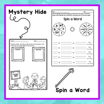 Word Family A Worksheets (CVCC)