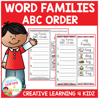 Word Family ABC Order Worksheets 25 Word Families