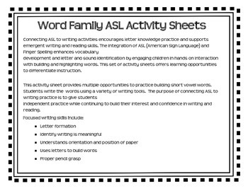 American Sign Language - Word Family ASL Activity Sheets Short /i/