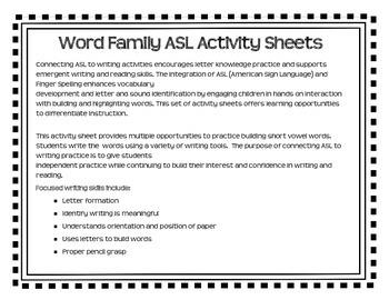 American Sign Language - Word Family ASL Activity Sheets Short /o/