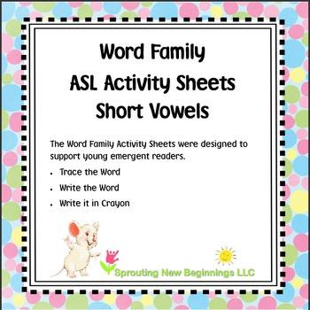 ASL Word Family Activity Short Vowel Sheets - Bundled