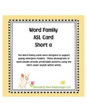 Word Family ASL Cards Short /a/ - American Sign Language