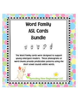 American Sign Language - Word Family ASL Cards Bundled, Short Vowels