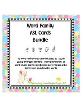 American Sign Language - Word Family ASL Cards Bundled, Sh