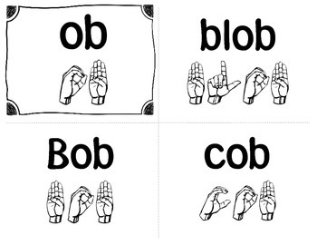 Word Family ASL Cards Short /o/ - American Sign Language