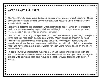 Word Family ASL Cards Short /u/ - American Sign Language